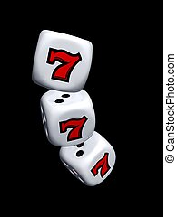 dice with slot seven of casino isolated on dark background