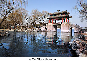 Beijing China - A chinese bridge over the Summer Palace lake...