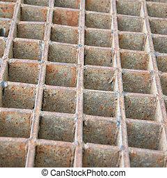 steel grate - Closeup of a steel grate