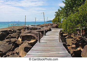 Wood walk way to sea Island Koh Kood, Thailand - Wooden...
