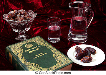 Ramadan evening - Dates and water, traditional foods for...