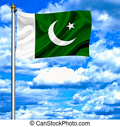 Pakistan waving flag against blue sky
