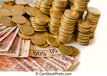 a lot of mexican pesos money, coins and bank notes