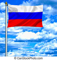 Russia waving flag against blue sky