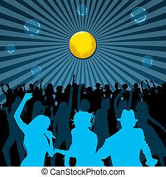 Dançar, cantando, pessoas, silhuetas