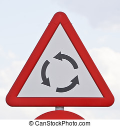 road sign that warns of a roundabout