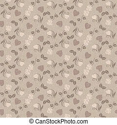 Romantic seamless pattern with hearts and roses