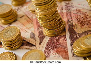 mexican money - a lot of mexican pesos money, coins and bank...