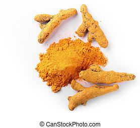 Turmeric root in dried and powdered form - Fresh, dried and...