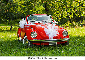 wedding car - Red wedding car with white ribbon
