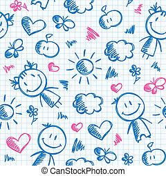 hand drawn kid pattern - hand drawn seamless pattern with...