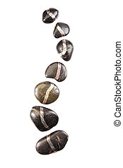 Spinal shaped hot stones. Different rocks isolated on white...