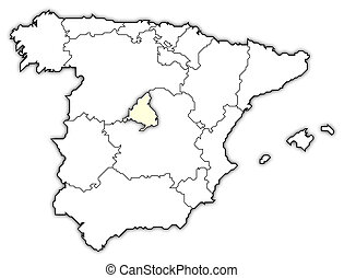 Map of Spain, Madrid highlighted - Political map of Spain...