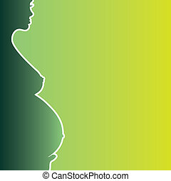 pregnant naked woman silhouette - illustration