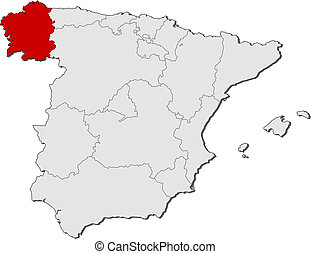 Map of Spain, Galicia highlighted - Political map of Spain...