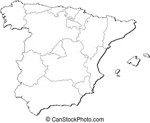 Map of Spain - Political map of Spain with the several...
