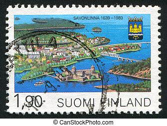 Savonlinna Municipal Charter - FINLAND - CIRCA 1989: stamp...