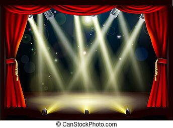 teatro, fase, luzes