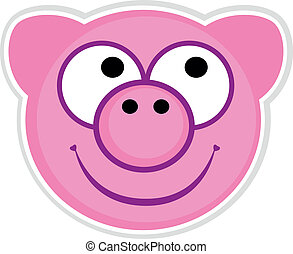Cartoon cute pink Pig badge isolated on white - Pink pig...