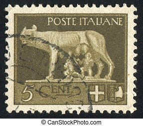 Wolf Suckling Romulus and Remus - ITALY - CIRCA 1945: stamp...