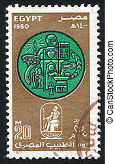 Emblems - EGYPT - CIRCA 1980: stamp printed by Egypt, shows...