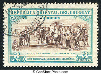 Flight of the People - URUGUAY - CIRCA 1952: stamp printed...