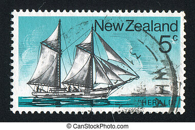 Schooner - NEW ZEALAND - CIRCA 1975: stamp printed by New...