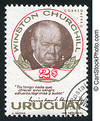 Winston Churchill - URUGUAY - CIRCA 1966: stamp printed by...