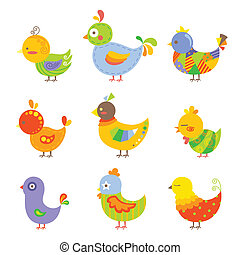 Colorful chickens - A vector illustration of different...