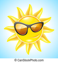 Cartoon Sun Characters - Cartoon Funny Sun with Sunglasses...
