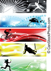 5 Sports banner with five brilliant colors