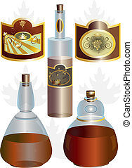 Unusual shape of bottles and labels for wine and brandy