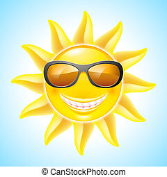 Cartoon Sun - Cartoon Smiling Sun with Sunglasses. See other...