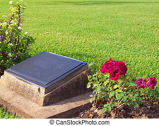 Headstone - Old headstone in cemetery with rose and palnts...