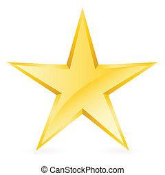 glänsande, guld, stjärna