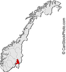 Map of Norway, Akershus highlighted - Political map of...