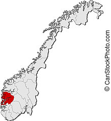 Map of Norway, Hordaland highlighted