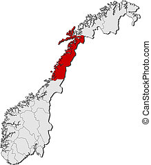 Map of Norway, Nordland highlighted