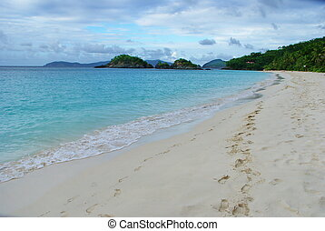 Footprints in the Sand Trunk Bay