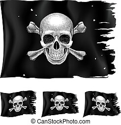 Three types of pirate flag. Illustration for design on white...