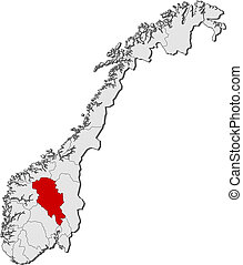 Map of Norway, Oppland highlighted - Political map of Norway...