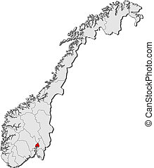 Map of Norway, Oslo highlighted - Political map of Norway...