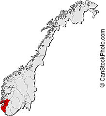 Map of Norway, Rogaland highlighted