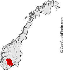 Map of Norway, Telemark highlighted