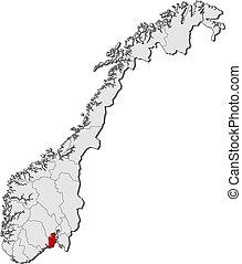 Map of Norway, Vestfold highlighted