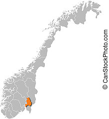 Map of Norway, Akershus highlighted