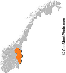 Map of Norway, Hedmark highlighted