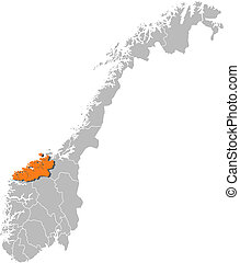 Map of Norway, More og Romsdal highlighted