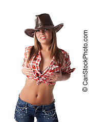 Sexy blonde young woman in cowboy hat