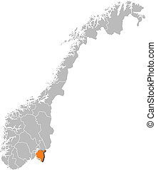 Map of Norway, Ostfold highlighted